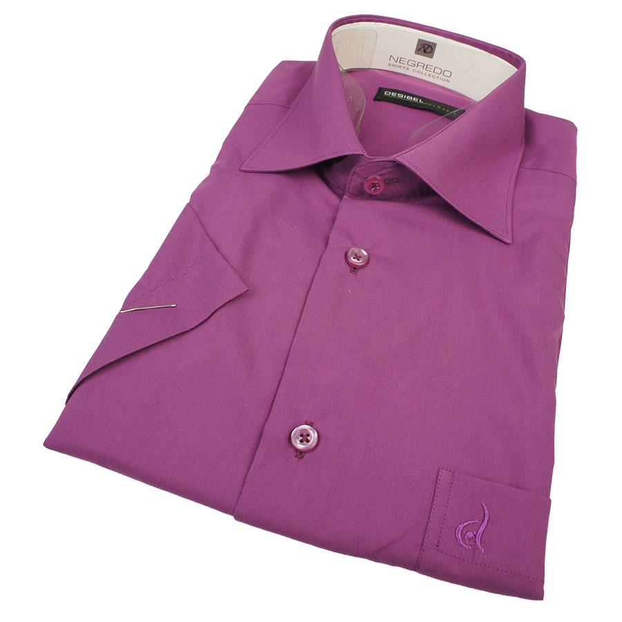 Ярко-фиолетовая мужская рубашка Desibel 31137 Classic K короткий рукав