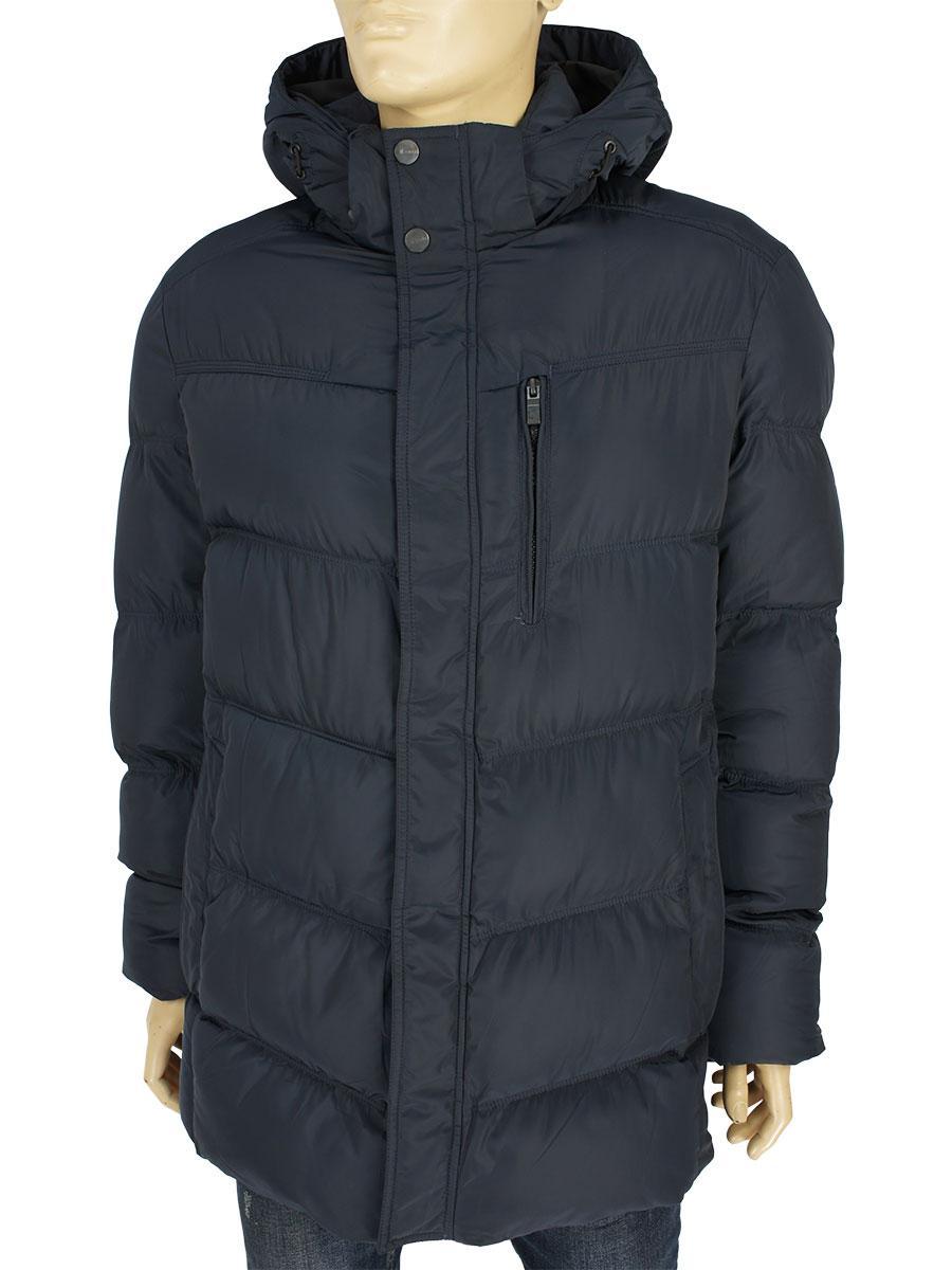 Зимняя мужская удлинённая куртка Sooyt Fashion М396 404# чорного цвета