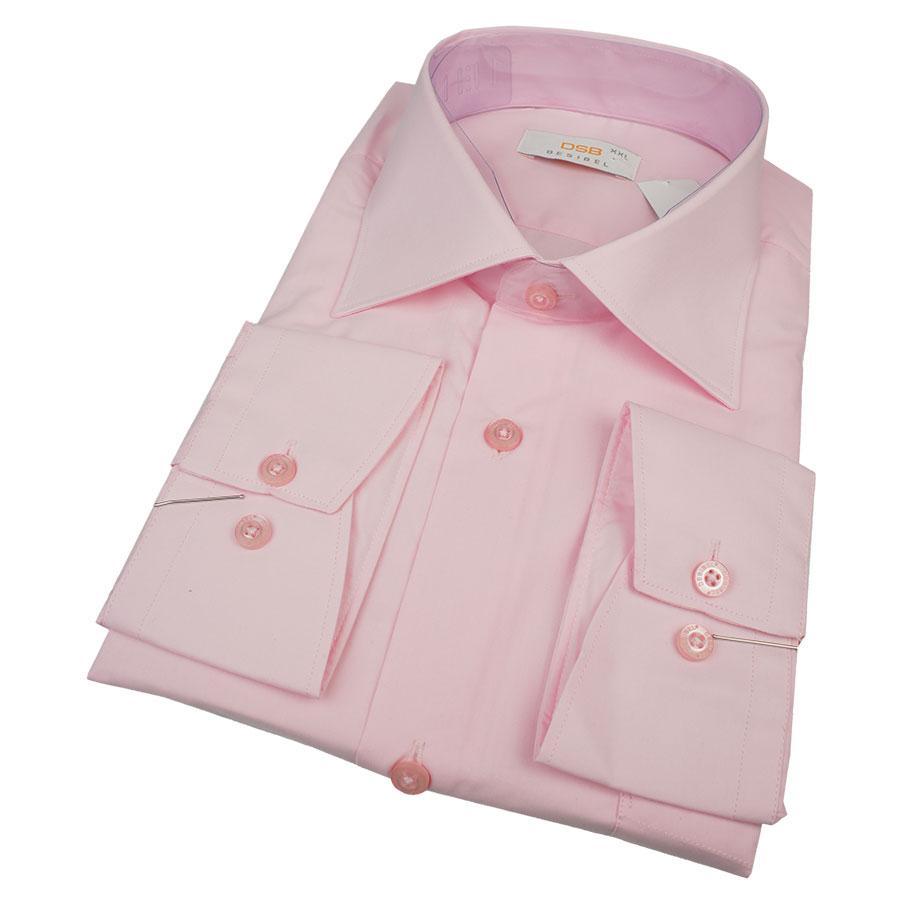 Однотонная мужская розовая рубашка Desibel 26028 Slim D длинный рукав