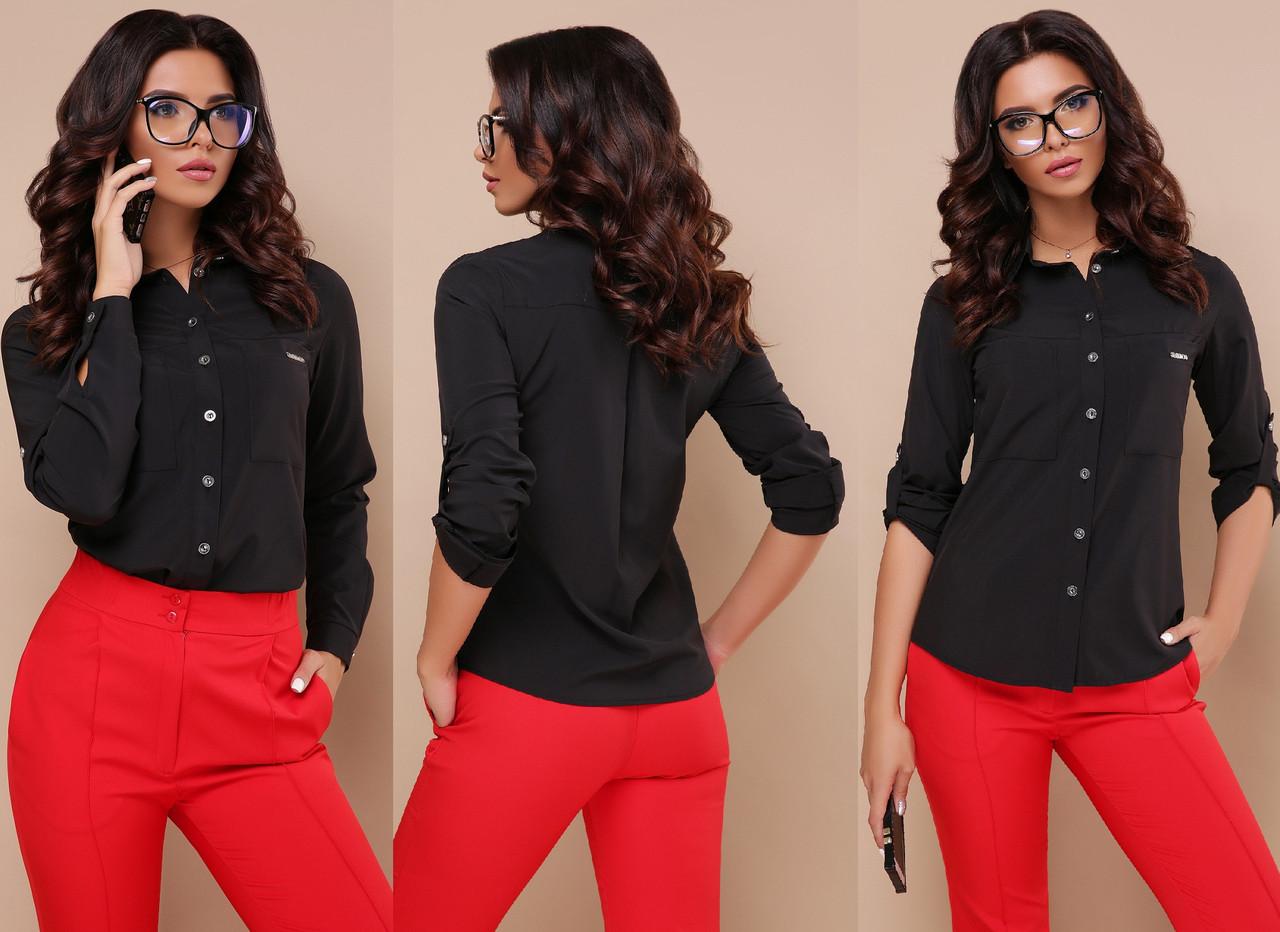 Черная классическая рубашка офисный стиль Gl Кери