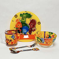 Детский набор стеклянной посуды для кормления Фиксики 5 предметов Metr+