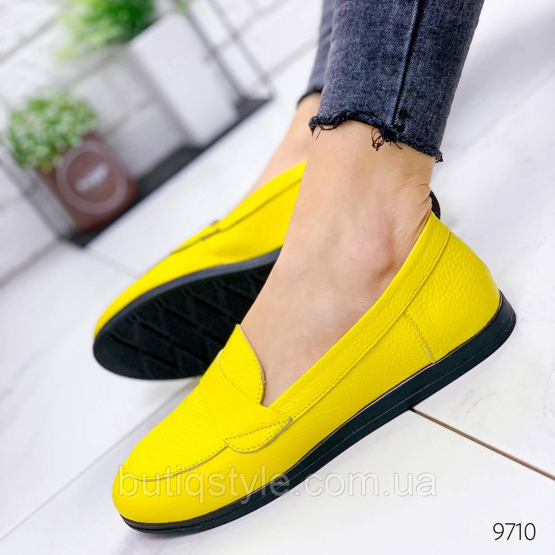 38,40 размер Женские желтые туфли на низком ходу натуральная кожа