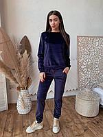 Женский костюм из бархата К 00553 с 03 синий