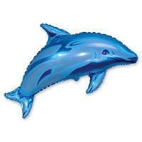 Фольгована кулька міні-фігура Дельфін блакитний 29х38 см Flexmetal