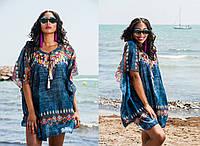 Летняя женская туника   в этническом стиле из натурального хлопка  1134, фото 1