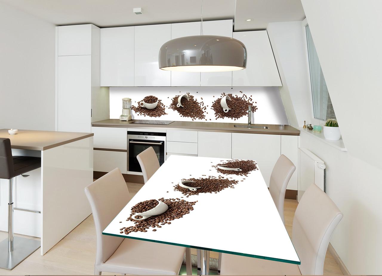 Виниловая наклейка на стол Чашки и зерна кофе интерьерные наклейки на столы мебель белый фон абстракция кофе