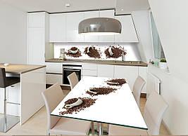 Виниловая наклейка на стол Чашки и зерна кофе (интерьерные наклейки на столы мебель белый фон абстракция кофе), 600*1200 мм