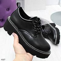 Стильные черные женские туфли на шнуровке