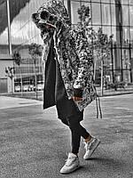 Куртка парка мужская удлинённая зимняя с капюшоном на меху  стильная  тёплая чёрная белая хайповая