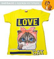 """Стильная футболка  для девочки """"Love Cat"""" (от 5 до 8 лет)"""