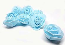 Декоративные розочки для сувенирных изделий голубые 100 шт