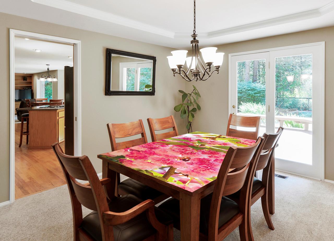 Вінілова наклейка на стіл Рожеве цвітіння інтер'єрні наклейки на столи меблі рожеві квіти сакура 600*1200