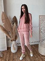 Женский костюм из бархата К 00553 с 04 бежевый, фото 1