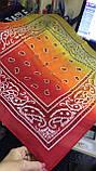 Бандана -платок из хлопка  с переходящей тональностью серый -розовый и голубой, фото 4