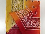 Бандана -платок из хлопка  с переходящей тональностью серый -розовый и голубой, фото 3