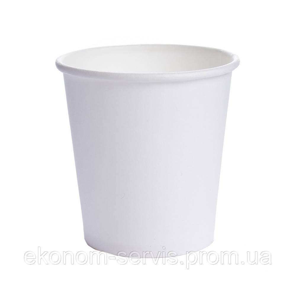 Стакан паперовий без принта, білий 110 мл, d-7,4 см, 50 шт.