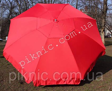 Большой зонт 3,5м круглый, торговый с клапаном. Усиленный. Красный. Плотная ткань. Для торговли на улице!, фото 2