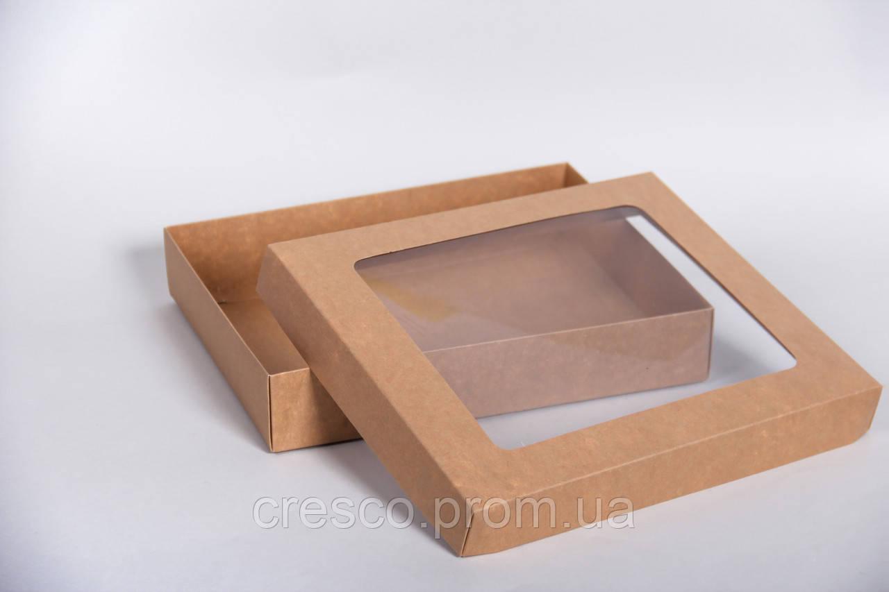 Коробка с крышкой и прозрачным окошком 275*230*50 мм, крафт