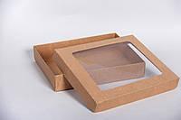 Коробка с крышкой и прозрачным окошком 275*230*50 мм, крафт, фото 1