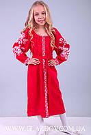 Платье - вышиванка для девочки из натурального льна красного цвета