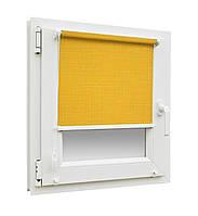 Готовые рулонные шторы Лен 858 размер 300х1650мм (желтый цвет)