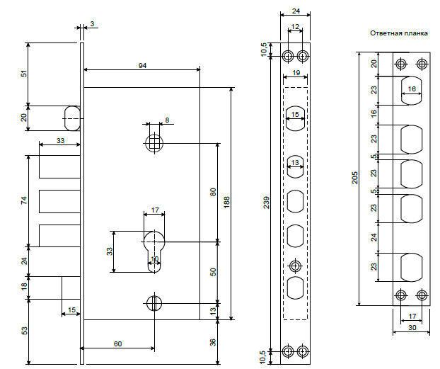 Замок врезной Apecs T-0523-C-схема