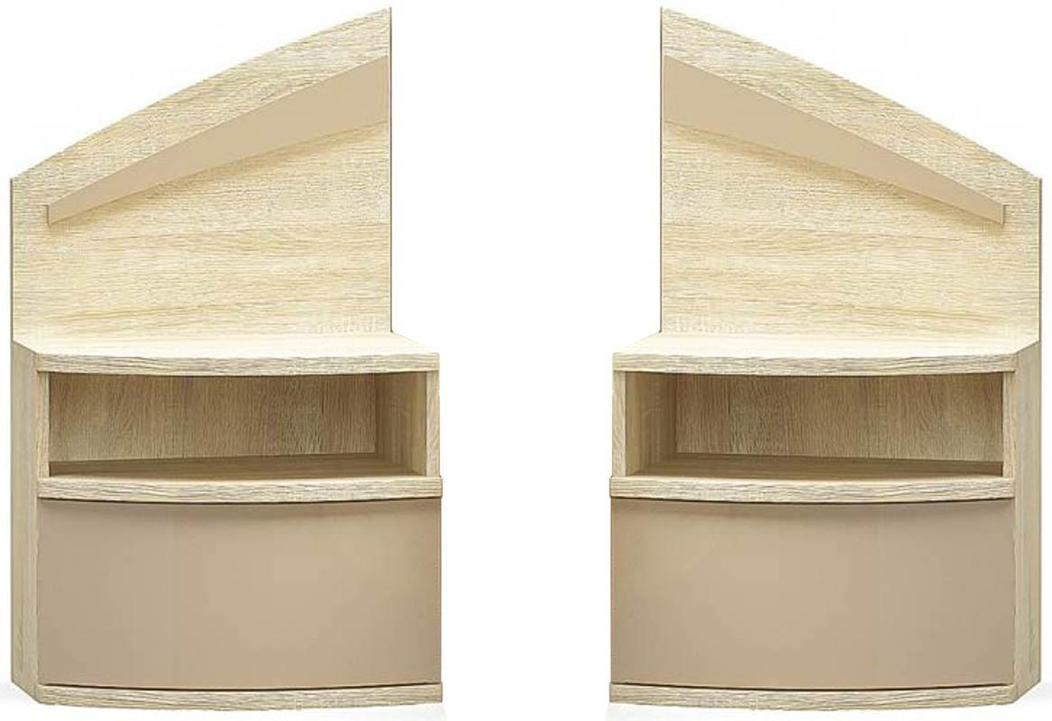 Аляска Тумба прикроватная (комплект 2 шт.) МЕБЕЛЬ СЕРВИС (55х40.3х88.1 см) Дуб самоа + Капучино