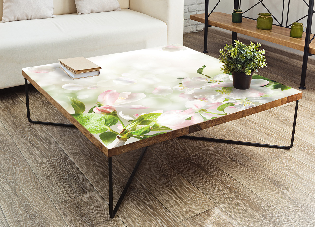 Виниловая наклейка на стол Нежное цветение (интерьерные наклейки на столы мебель белые цветы яблони) 600*1200 мм