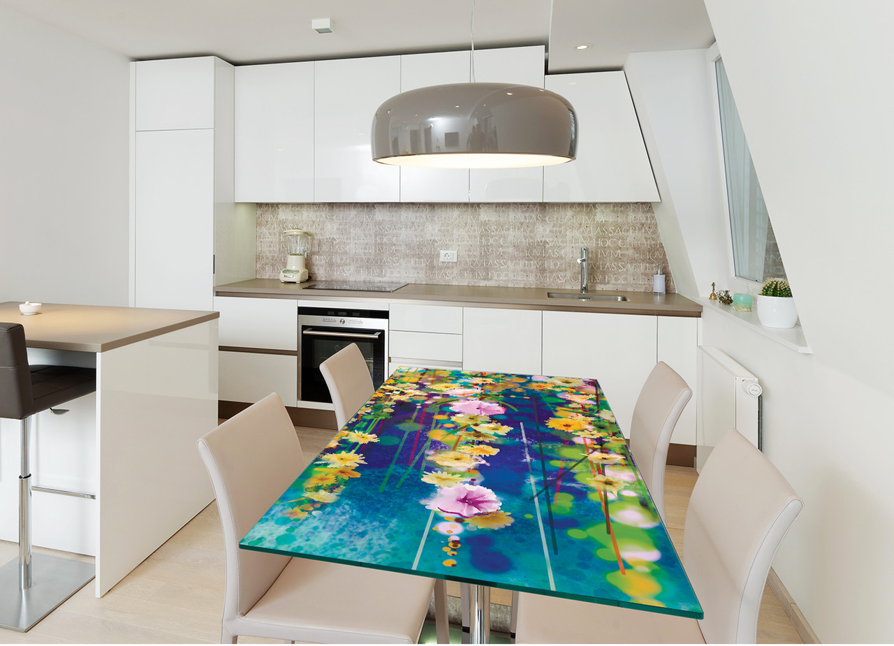 Виниловая наклейка на стол Цветы акварель (интерьерные наклейки на столы мебель нарисованные цветы абстракция) 600*1200 мм