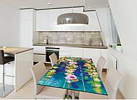 Виниловая наклейка на стол Цветы акварель (интерьерные наклейки на столы мебель нарисованные цветы абстракция) 600*1200 мм, фото 1