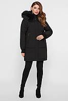 Черная женская куртка со съемным мехом на капюшоне