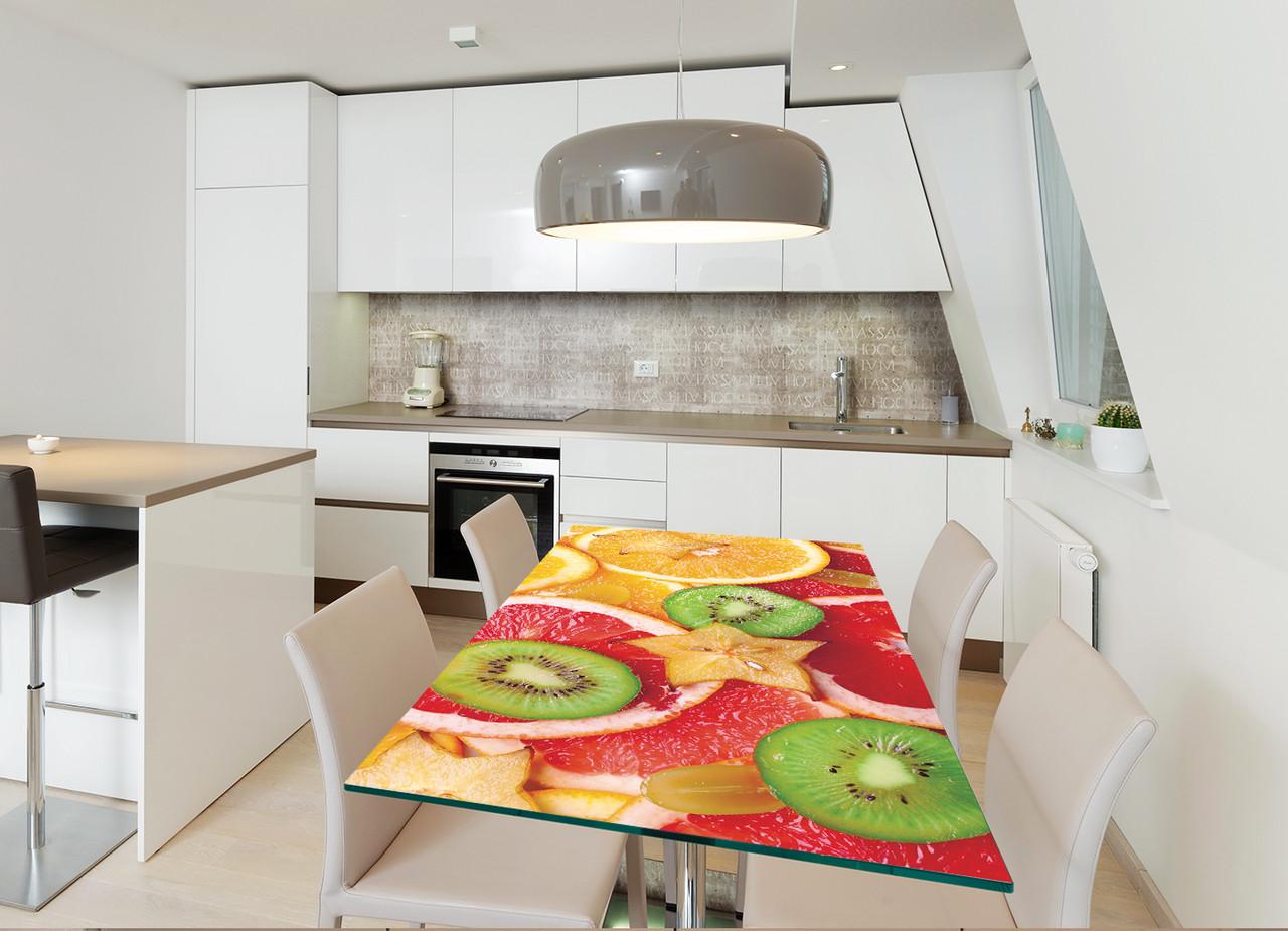 Виниловая наклейка на стол Цитрусовый микс интерьерные наклейки на столы мебель цитрусы апельсины абстракция