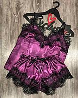 Фиолетовая атласная пижама майка и шорты с кружевом 002-1.
