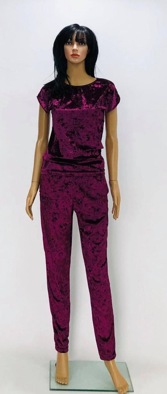 Домашний велюровый костюм футболка и брюки