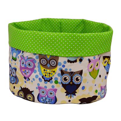 Мешок (корзина) для хранения, Ø45 * 40 см, (хлопок), с отворотом (сказочные совы голубые / горох на зеленом)