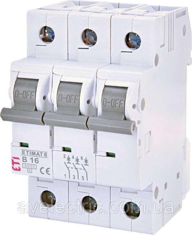 Автоматический выключатель ETIMAT 6 3p D16 ETI, 2164516