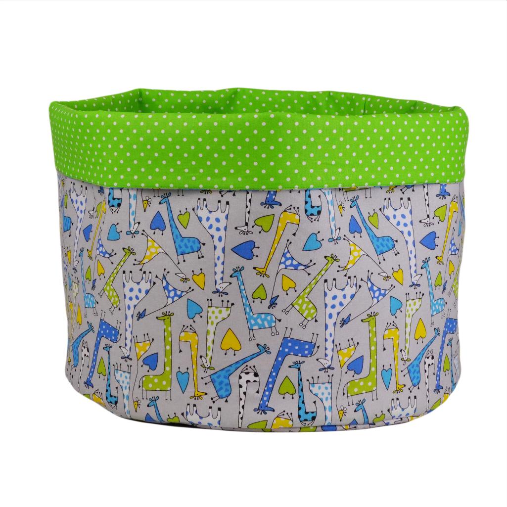 Мешок (корзина) для хранения, Ø45 * 40 см, (хлопок), с отворотом (Жирафчики / горох на зеленом)
