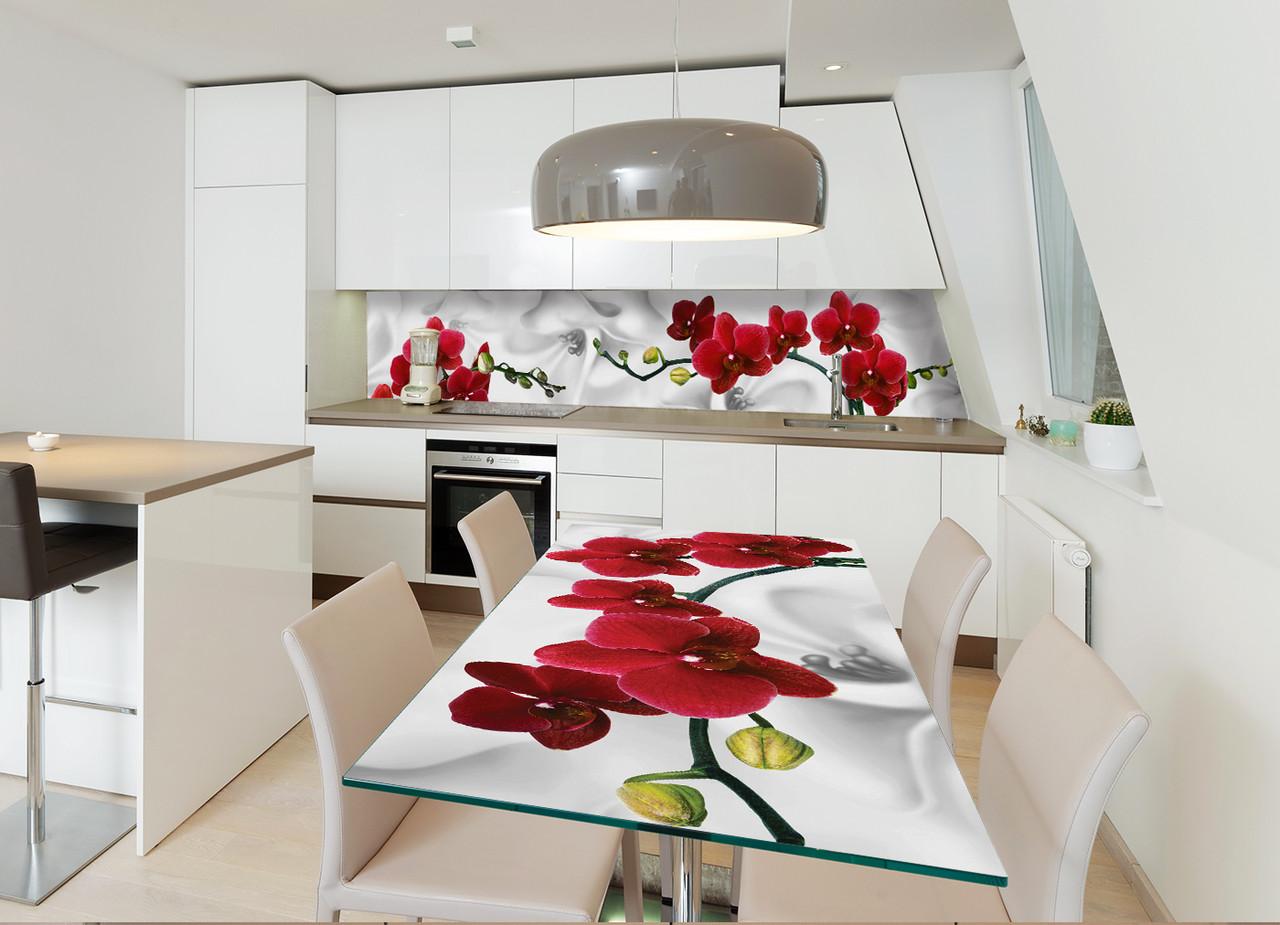 Виниловая наклейка на стол Красная Орхидея (наклейки на столы мебель орхидеи цветы на белом фоне) 600*1200 мм