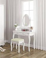 Туалетный Столик косметический со стульчиком и зеркалом Bonro ручная работа Белый