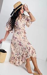 Молодёжное легкое летнее платье с рюшами размеры 42,44,46,48