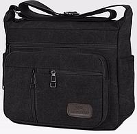 Мужская черная текстильная сумка через плечо 445