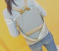 Сумка женская рюкзак серый антивор легкий 17В.