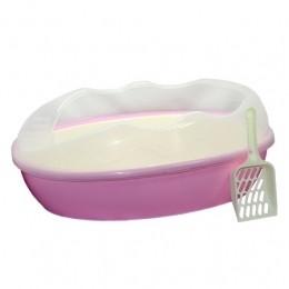 Туалет для кошки с лопаткой и сеткой 58х40х22 см Розовый