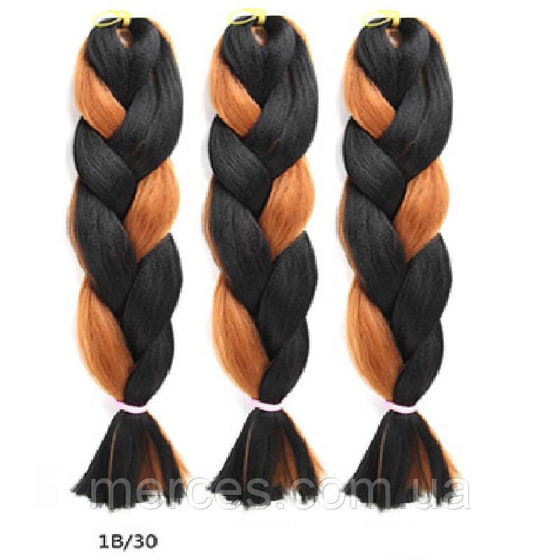 Двоколірна однотонна канекалоновая коса - чорний + св. коричн.. Довжина в косі 60 див. #Термостійка.