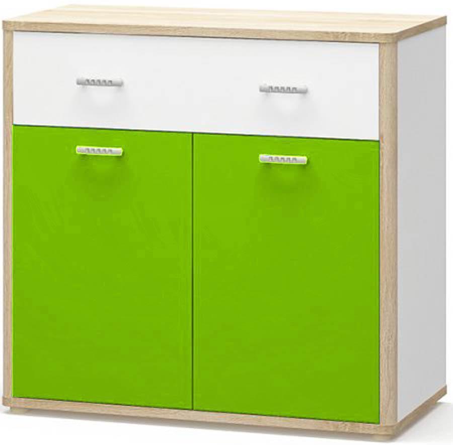 Лео Комод 2Д1Ш МЕБЕЛЬ СЕРВИС Дуб самоа + Белый + Зеленый (101.8х48.4х97.4 см)