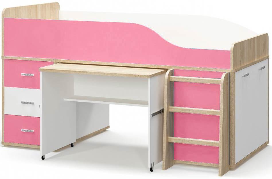 Лео Кровать Горка МЕБЕЛЬ СЕРВИС Дуб самоа + Белый + Розовый (205.8х113.5х116.6 см)