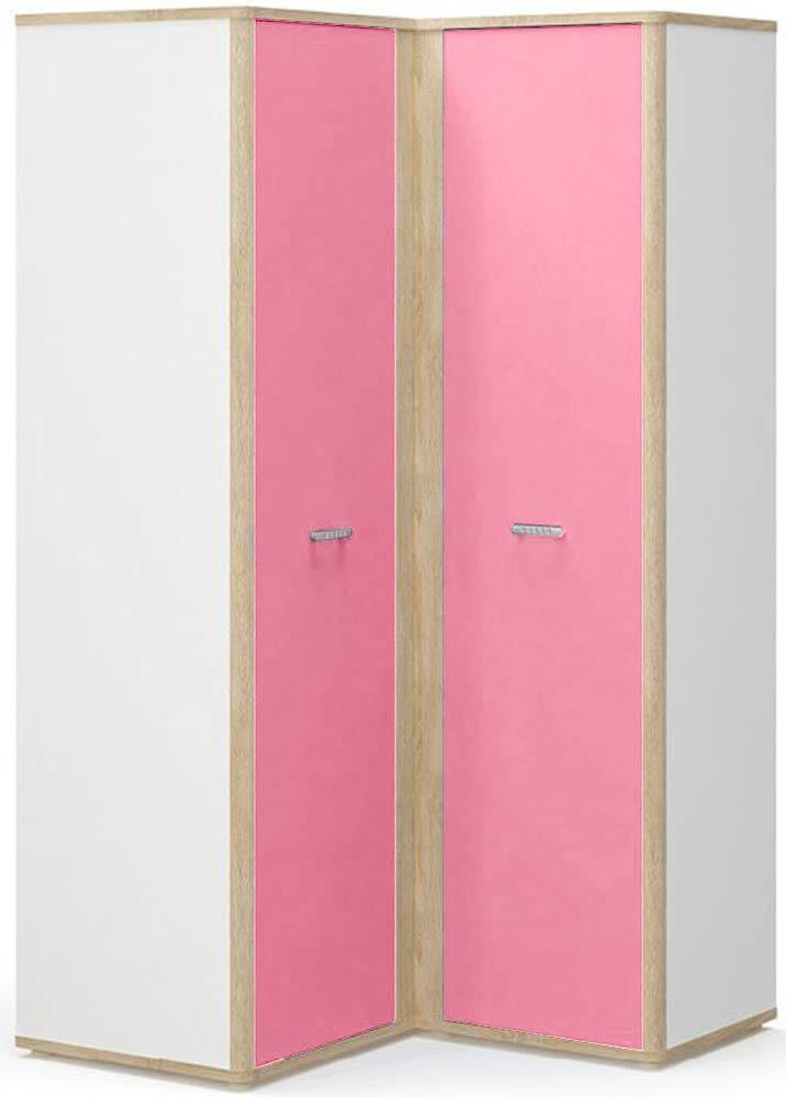 Лео Шкаф угловой правый МЕБЕЛЬ СЕРВИС Дуб самоа + Белый + Розовый