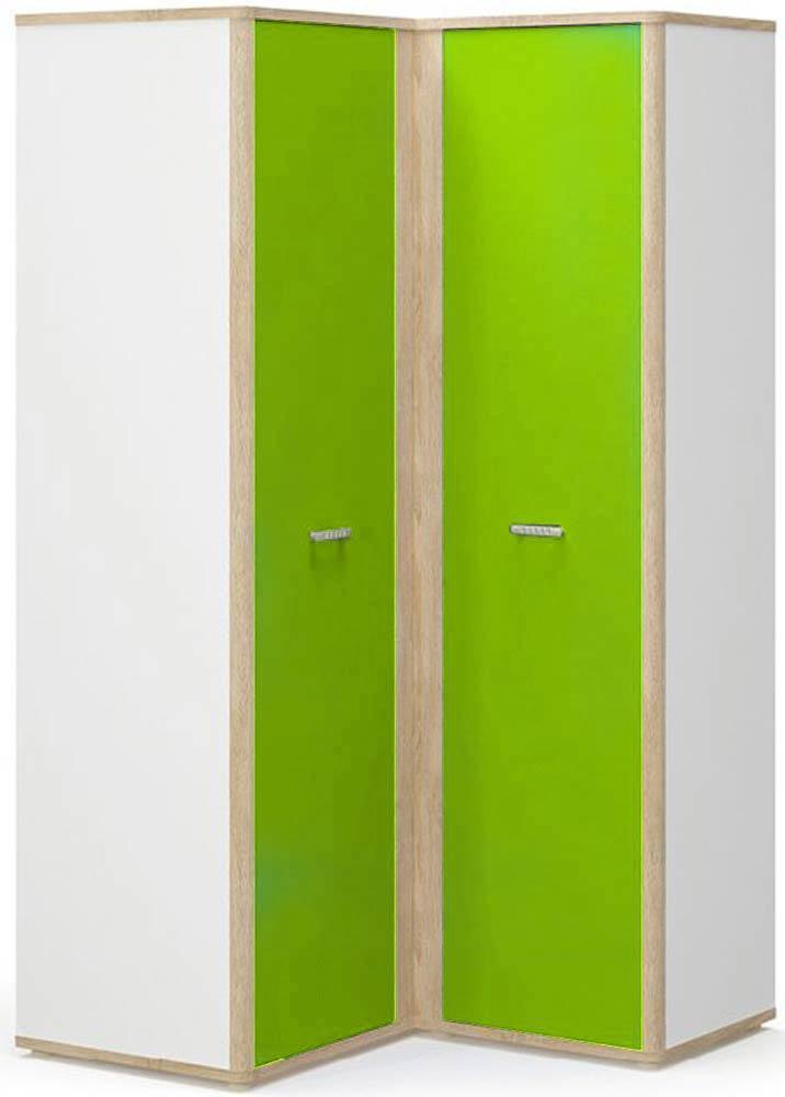 Лео Шкаф угловой правый МЕБЕЛЬ СЕРВИС Дуб самоа + Белый + Зеленый