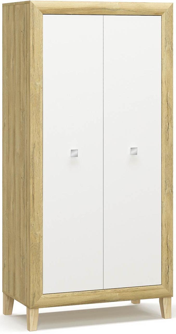 Далия Шкаф 2Д МЕБЕЛЬ СЕРВИС (95,9х40х199.5 см) Дуб золотой + Белый
