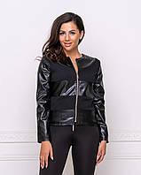Женская молодежная куртка из экокожи черного цвета